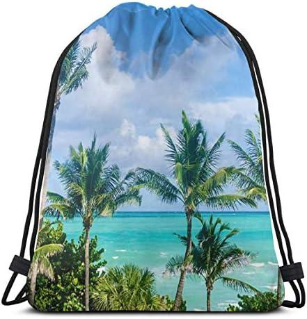 マイアミビーチパームツリードローストリングバックパックバッグスポーツジムサックパック36 x 43cm