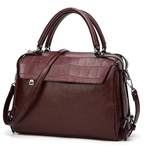 Review DALFR Women Top Handle Satchel Handbags PU Vegan Leather Crossbody Bag Over Size Shoulder Messenger Bag Tote Bag Purse (Dark Red)