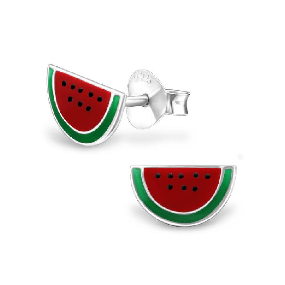Sterling Silver Children's Watermelon Stud Earrings with Epoxy