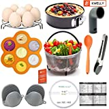KWELLY Instant Pot Accessories Set Fits 5,6,8Qt -Steamer Basket, Nonstick Springform Pan, Egg Rack, Food Tong, Silicone Egg Bites Mold, 2 Mini Mitts, Spoon, Sealing Ring, Steam Release & Magnet,11 pcs