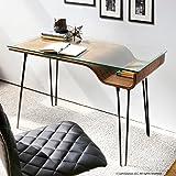 Office Desk Furniture, Student Desks, Writing Desks, Secretary Desk, Bent-Wood Curves, Walnut Wood Top, Black Frame Finish