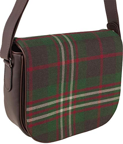 Leather Shoulder Hand Bag with Scott Tartan with Inside and Back Pocket