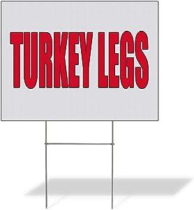 Fastasticdeals Weatherproof Yard Sign Turkey Legs Food Fair Promotion Business White Lawn Garden 24x18 Inches 2 Sides Print