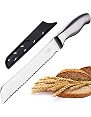 Orblue Serrated Bread Knife Ultra-Sharp Stainless Steel Professional Grade Bread Cutter - Cuts Thick Loaves Effortlessly - Ideal for Slicing Bread, Bagels, Cake (8-Inch Blade with 4.9-Inch Handle)