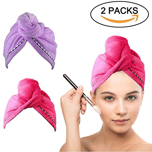 Split Headband (Microfiber Hair Drying Towel Turban - COSCOD 2 Pack Quick Dry Ultra Absorbent Microfiber Hair Towel Wrap Shower Head Towel for Long Hair Women with Buttons)