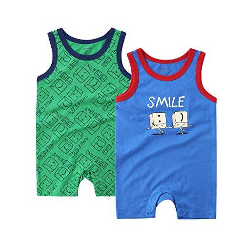 - Teach Leanbh Baby Boys Girls 2-Pack Romper Cotton Sleeveless Print Bodysuit Coverall 3-24 Months (3-6 Months, Blue Green/Smile)