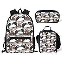 Emoji Dloth Print Children Bookbag School Backpack Set with Insulated Lunch Box Pencil Case 3PCS