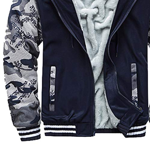 Pull Y1 À Veste Manteau 054 Sweat Pull Mrulic Chaud Outwear Rh Hiver Hommes Capuche Polaire Zipper Bleu FJlcTK13