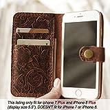 Genuine Italian Leather Wallet Case for Iphone 8 plus/iPhone 7 plus(5.5 inch) flip Case Handmade Luxury Retro classic cover slim Wristlet Tooled Flower Brown