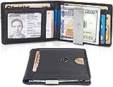 TRAVANDO Slim Wallet with Money Clip SEATTLE RFID Blocking Card Mini Bifold Men (Black)