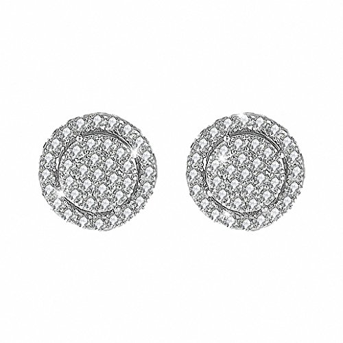 HONGYE Women 18K White Gold Plated Cubic Zirconia Cushion Shape Halo Stud Earrings - Authentic Halo Costumes