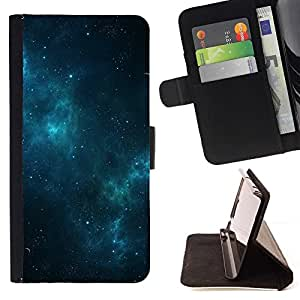 Momo Phone Case / Flip Funda de Cuero Case Cover - Galaxy Estrellas Blue Night Mist Cielo - Samsung Galaxy S6 Edge Plus / S6 Edge+ G928