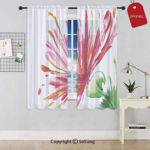 (SoSung Opened Out Asiatic Oriental Lily Freesia Florets Home Art Rod Pocket Sheer Voile Window Curtain Panels for Kids Room,Kitchen,Living Room & Bedroom,2 Panels,Each 42x45 Inch,Fuchsia)
