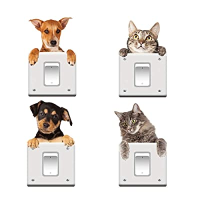 Cute Cats Dogs 3D Wall Decal Sticker Removable PVC Vinyl for Living Room Baby Rooms Bedroom Toilet House Wall DIY Decoration(Size:20x19cm): Baby