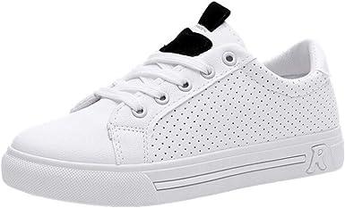 Zapatillas Blancas Mujer Zapatos con Cordones Deportivos ...