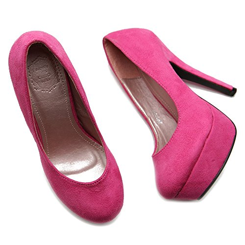 Pink Ollio Multi Heel Faux High Classic Platform Pump Color Suede Women's Shoe rwqPr