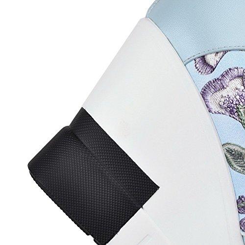 VogueZone009 Damen Reißverschluss Gemischte Farbe PU Leder Rund Zehe Hoher Absatz Stiefel Blau