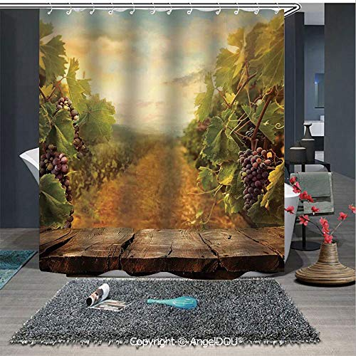 - AngelDOU Modern Fashion Styles Printed Shower Curtain Vineyard Grapes Natural Rustic Vinatage Scenery Orchads Wine Home Kitchenware Ca for Home Hotel Club Bathroom Decoration
