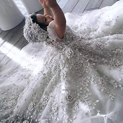 Michealboy Luxury Baby Girls Christening Gowns Lace Crystal 3D Floral Applique Baptism Dresses