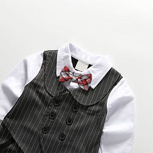 Baby Boy 1Pcs Rompers Clothing with Plaid Cap & Bow Tie