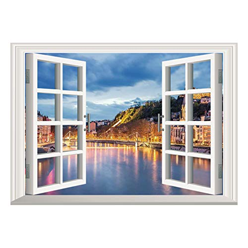 SCOCICI Wall Mural, Removable Sticker, Home Décor/European,View of Saone River in Lyon City at Evening France Blue Hour Historic Buildings,Multicolor/Wall Sticker Mural
