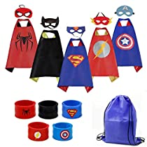 Cartoon Dress up Costumes 5 Characters Kids Superhero Capes with Felt Masks and Exclusive Bag for Boys (5pcs+Wristbands)