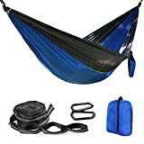 Image of Balichun Nylon Parachute Single Hammocks with 2 Tree Straps for Camping Hiking Backpacking