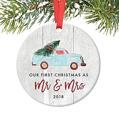 "Newlywed Christmas Ornament 2018, First Christmas as Mr & Mrs, Wedding Gift Idea, Blue Pickup Truck Christmas Tree Ceramic Rustic Farmhouse Keepsake 3"" Flat Circle Porcelain with Red Ribbon & Free Box"