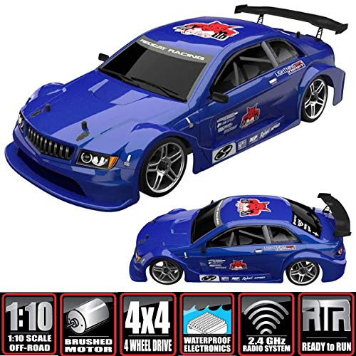 Redcat Racing EPX Drift Car with 7.2V 2000mAh Battery, 2.4GHz Radio and BL10315 Body (1/10  Scale), Metallic Blue
