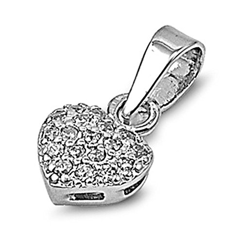 Heart Pendant Clear Simulated CZ .925 Sterling Silver