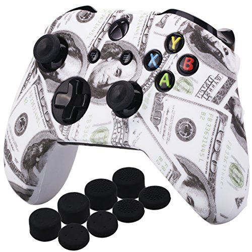 (YoRHa Printing Rubber Silicone Cover Skin Case for Xbox One S/X Controller x 1(US dollar) With PRO Thumb Grips x 8)