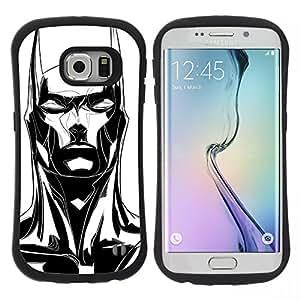"""Hypernova Slim Fit Dual Barniz Protector Caso Case Funda Para Samsung Galaxy S6 EDGE [Orejas largas Bat Negro blanco del arte""""]"""