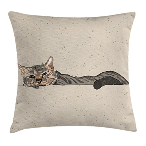 Ambesonne Cat Throw Pillow Cushion Cover, Lazy Sleepy Cat Figure in Earth Tones Cute Furry Mascot Indoor Pet Art Illustration, Decorative Square Accent Pillow Case, 20 X 20 Inches, Tan Dimgrey