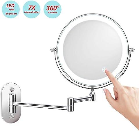 STLOVe Specchio Ingranditore da Trucco con Luce LED Lente dIngrandimento,Specchio per Il Trucco,Cromato in Metallo,Perfetto Come Regalo per Donna e Ragazza