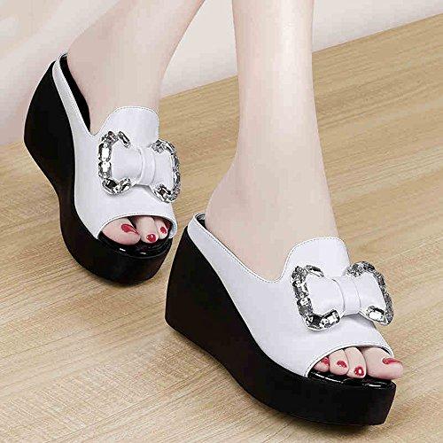 Gli da XIAOLIN in Colore Sandali studenti Sandali suola le indossano e la estate Colore con Nero Bianca pantofole versione spessa La coreana dei delle facoltativo pantofole donna Estate formato sandali rOxSPqrw