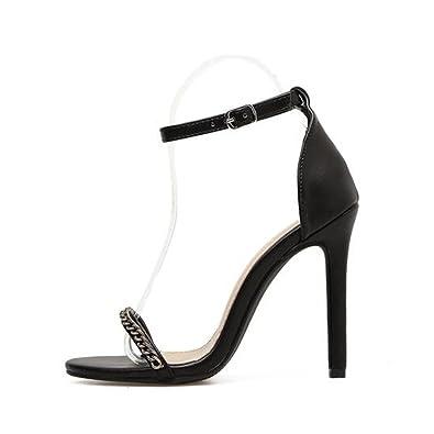 Europa und die Vereinigten Staaten flachen Metall Leder, Schuhe mit hohen Absätzen, spitzen Damen Schuhe, schwarz, 43