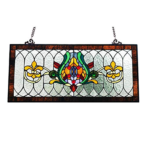 River of Goods Fleur De Lis 30 Inch Wide Stained Beveled Glass Pub Window Panel, Brown Yellow, Green