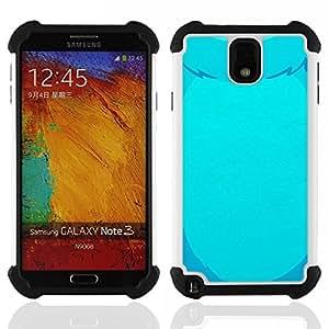 """SAMSUNG Galaxy Note 3 III / N9000 / N9005 - 3 en 1 impreso colorido de Altas Prestaciones PC Funda chaqueta Negro cubierta gel silicona suave (Oso azul Dibujo Piel Oso mascotas vientre"""")"""