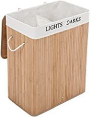 Songmics Wasmand, 100 liter, bamboe, opvouwbare wasbox met 2 vakken, wasmand met uitneembare waszak