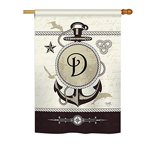 Cheap Breeze Decor – Nautical D Initial Monogram – Everyday Impressions Decorative Vertical House Flag 28″ x 40″ Printed in USA