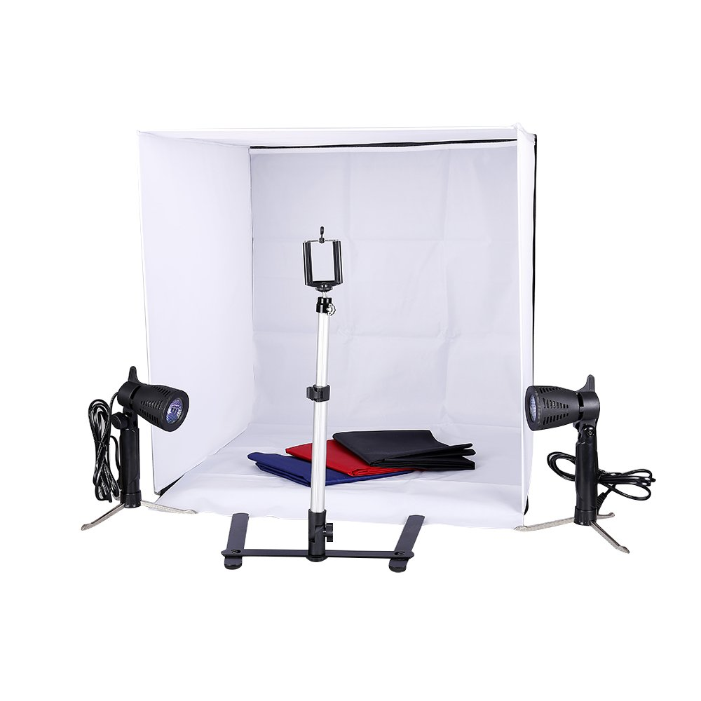 Studio Light Tent Kit by Kshioe,60x60cm/24x24 Inch Table Top Photography Lighting Box with Camera Camcorder Tripod Stand Phone Clip Holder and 50W Photo Spotlight Contain Light Stand
