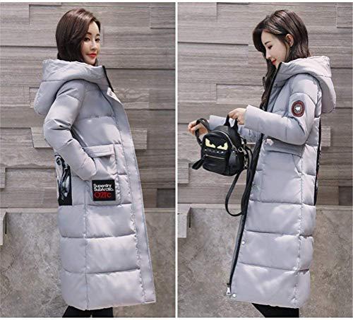Elegante Stampata Long Addensare Warm Con Cappuccio Giacca Manica Outdoor Coat Parka Grau Ladies Retro Leisure Fashion Winter Down FOcU8w