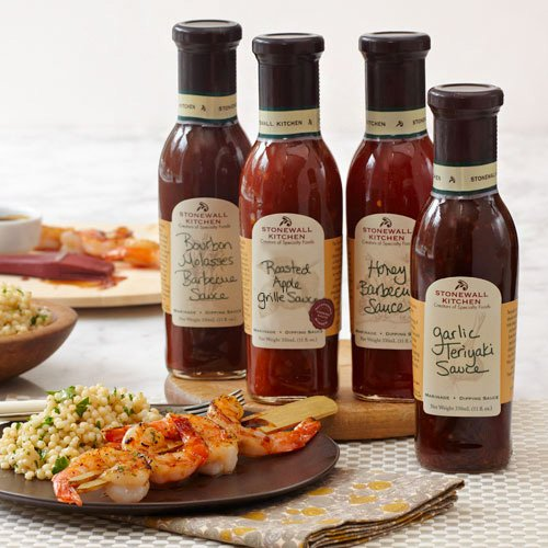 Stonewall Kitchen Sweet Grille Sauce Collection: Apple Grille Sauce, Honey Barbecue, Bourbon Molasses Barbecue Sauce and Garlic Teriyaki, 11 ounces each