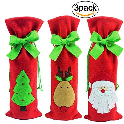 Coxeer 3Pcs Christmas Wine Bottle Cover Set Christmas Gift Bags Santa Reindeer Christmas Tree Wine Bag