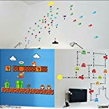 Classic Pacman ~ Super Mario Bros. ~ Space Invaders Wall Decal Clings Nintendo 1980's Classic Arcade Games 3 Piece Set