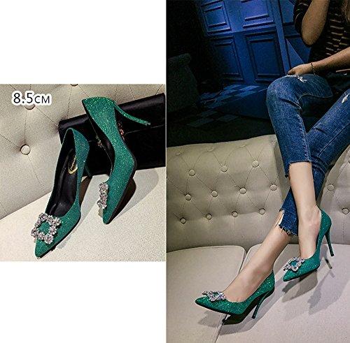 8 boucle strass les partie hauts avec 36 peu talons 5cm profondes et Vert pointus États bleu Unis Vert taille sexy l'Europe Couleur chaussures des strass femmes vertes les rzrqxA6