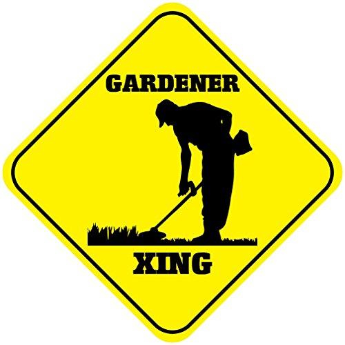 (Aluminum Cross Sign Gardener Crossing Metal Wall Decor - 12