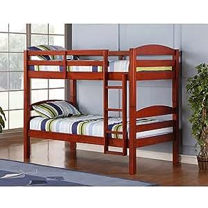 Amazon Com Twin Over Twin Wood Bunk Bed Cherry Solid Hardwood