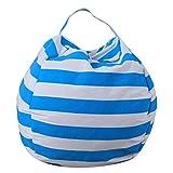 bestpriceam Kids Stuffed Animal Plush Toy Storage Bean Bag Soft Pouch Stripe Fabric Chair SB