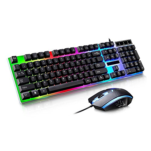 Wireless Keyboard Usb Port (JUDYelc Wired Gaming Keyboard+ Mouse Combo Sets USB Port Keycaps 1000dpi Rainbow Color Backlight Mice Set (Black))